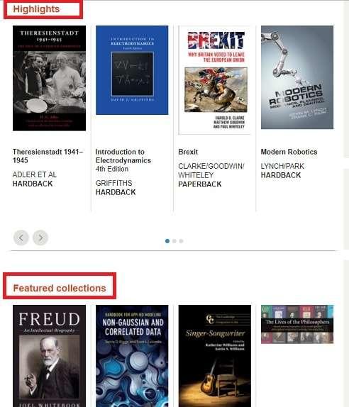 بخش های سایت انتشارات دانشگاه کمبریج